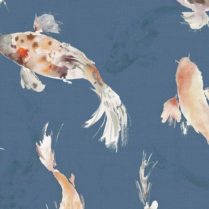 Voyage Koi Carp Cobalt Fish Wallpaper